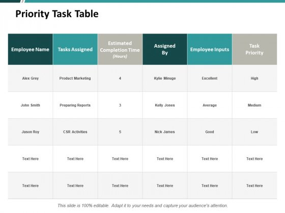 Priority Task Table Ppt PowerPoint Presentation Portfolio Information