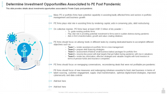 Private Funding In The Age Of COVID 19 Determine Investment Opportunities Associated To PE Post Pandemic Guidelines PDF