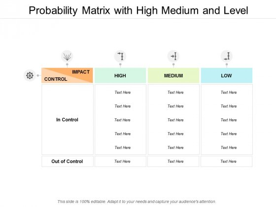 Probability Matrix With High Medium And Level Ppt PowerPoint Presentation Model Shapes