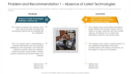 Problem And Recommendation 1 Absence Of Latest Technologies Ppt Icon PDF