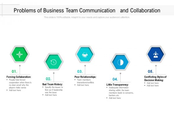 Problems Of Business Team Communication And Collaboration Ppt PowerPoint Presentation Gallery Portrait PDF