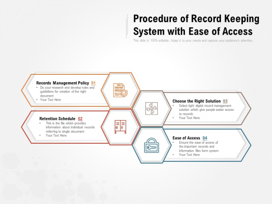 procedure of record keeping system with ease of access ppt powerpoint presentation icon master slide