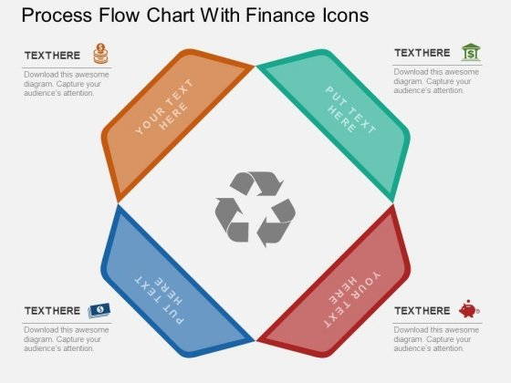 Process Flow Chart With Finance Icons PowerPoint Template
