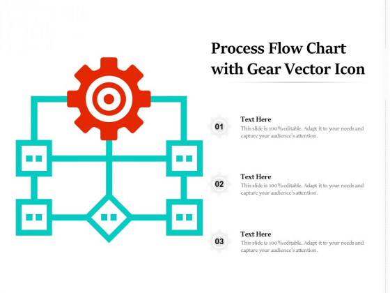 Process Flow Chart With Gear Vector Icon Ppt PowerPoint Presentation Show Inspiration PDF