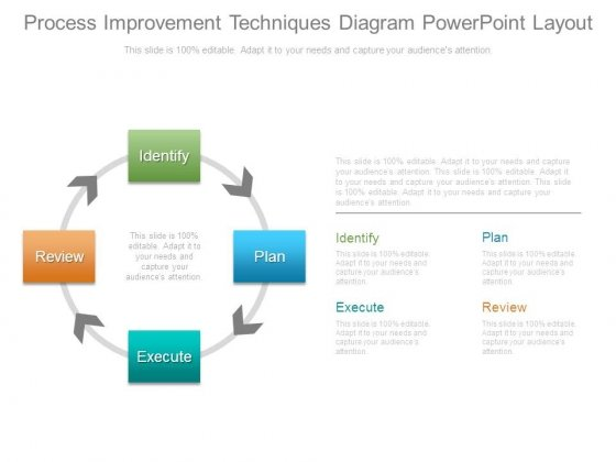 Process Improvement Techniques Diagram Powerpoint Layout