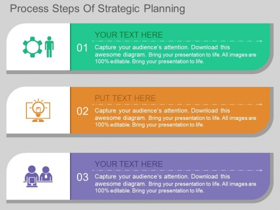 process steps of strategic planning powerpoint template, Presentation templates