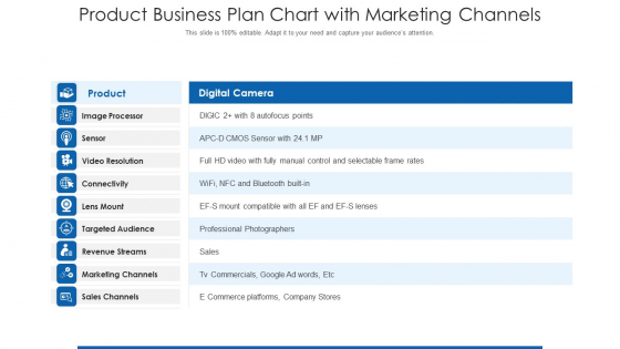 Product Business Plan Chart With Marketing Channels Ppt Information PDF