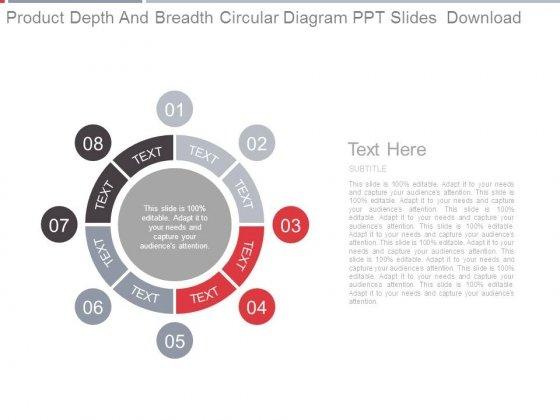 Product Depth And Breadth Circular Diagram Ppt Slides Download