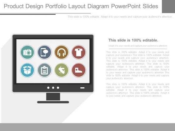 Product Design Portfolio Layout Diagram Powerpoint Slides