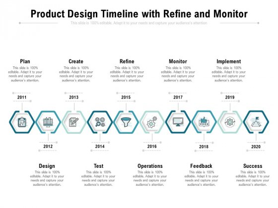 Product Design Timeline With Refine And Monitor Ppt PowerPoint Presentation File Backgrounds PDF