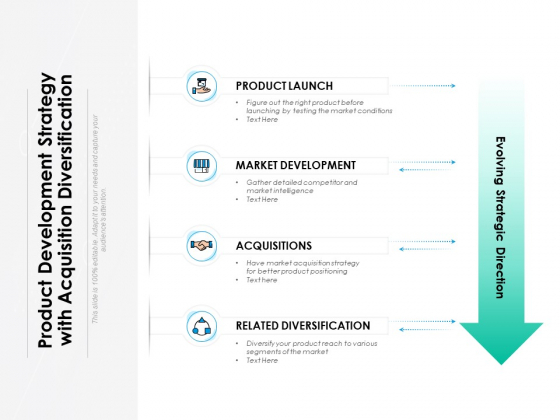 Product Development Strategy With Acquisition Diversification Ppt PowerPoint Presentation Ideas Brochure