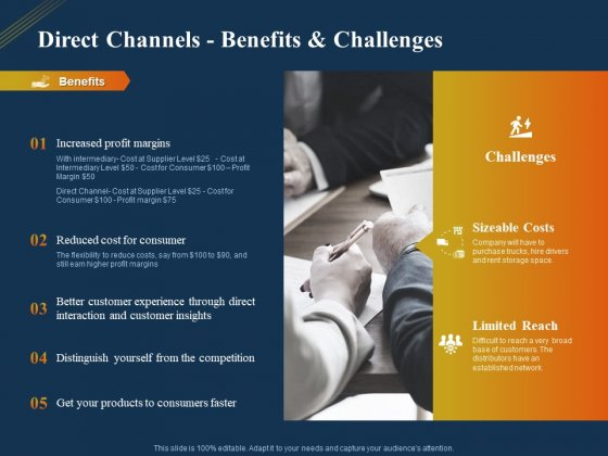 Product Distribution Sales And Marketing Channels Direct Channels Benefits And Challenges Ppt Visual Aids Professional PDF