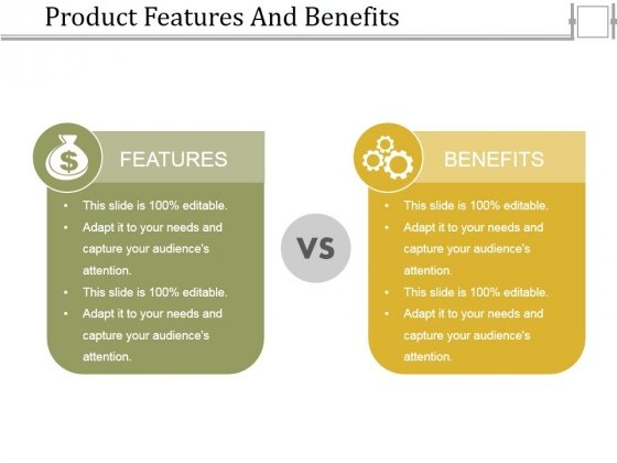 Product Features And Benefits Ppt Powerpoint Presentation Model