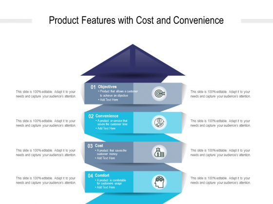 Product Features With Cost And Convenience Ppt PowerPoint Presentation Visual Aids Professional
