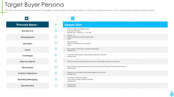 Product Kick Off Strategy Target Buyer Persona Professional PDF
