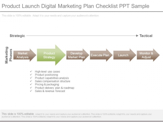 Product Launch Digital Marketing Plan Checklist Ppt Sample