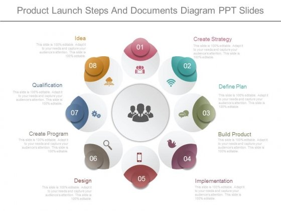 Product Launch Steps And Documents Diagram Ppt Slides