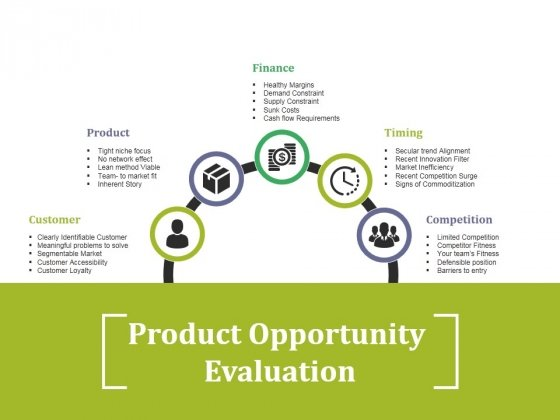 Product Opportunity Evaluation Ppt PowerPoint Presentation Diagram Lists