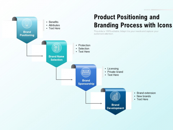 Product Positioning And Branding Process With Icons Ppt PowerPoint Presentation Layouts Infographics