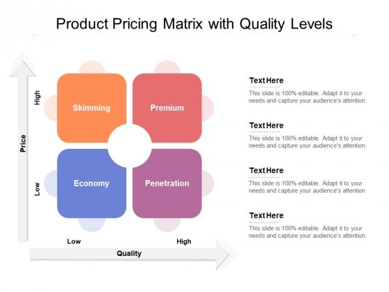 Product Pricing Matrix With Quality Levels Ppt PowerPoint Presentation Ideas Files PDF