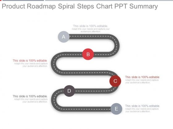 Product Roadmap Spiral Steps Chart Ppt Summary