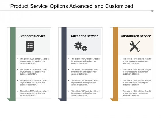 Product Service Options Advanced And Customized Ppt PowerPoint Presentation Inspiration Show