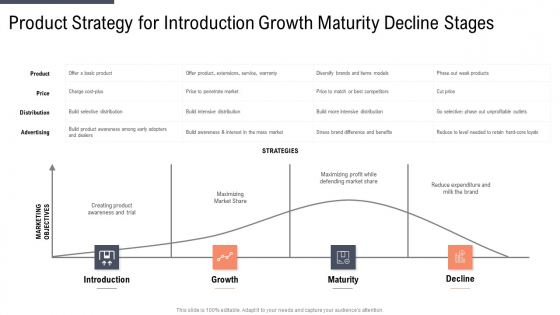 Product Strategy For Introduction Growth Maturity Decline Stages Icons PDF