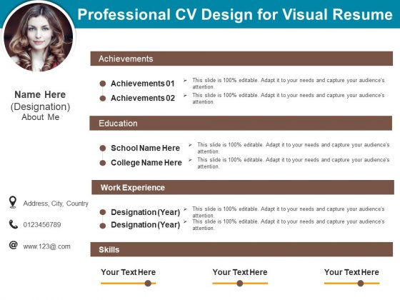 Professional CV Design For Visual Resume Ppt PowerPoint Presentation Ideas Deck PDF