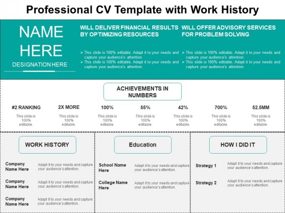 Professional CV Template With Work History Ppt PowerPoint Presentation Infographics Inspiration PDF