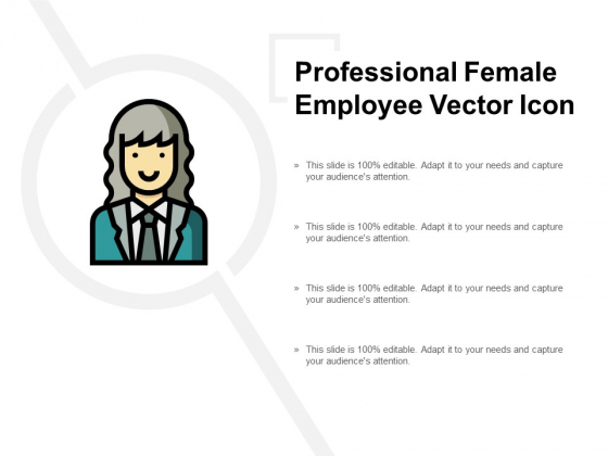 Professional Female Employee Vector Icon Ppt PowerPoint Presentation Infographic Template Graphics Download