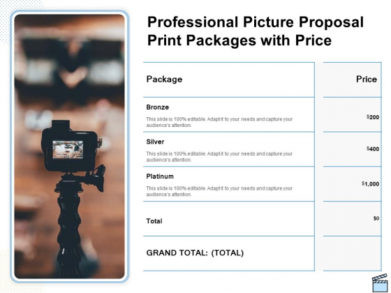 Professional Picture Proposal Professional Picture Proposal Print Packages With Price Ppt Slides Graphics PDF