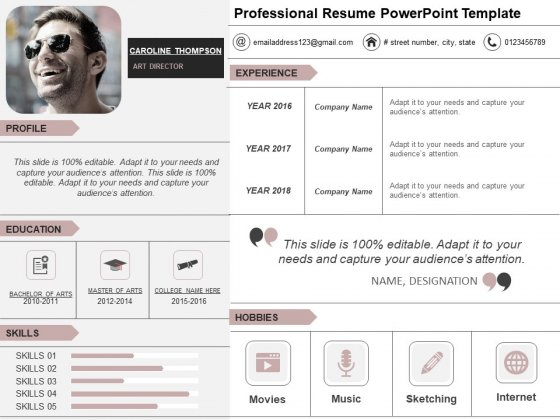 Professional Resume PowerPoint Template Ppt PowerPoint Presentation Infographic Template Gridlines PDF