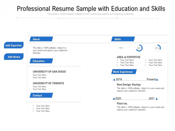 Professional Resume Sample With Education And Skills Ppt PowerPoint Presentation Model Slides PDF