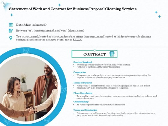 Professional Sanitation Solutions Statement Of Work And Contract For Business Proposal Cleaning Services Demonstration PDF