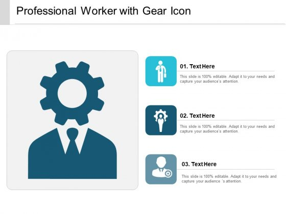 Professional Worker With Gear Icon Ppt PowerPoint Presentation Icon Smartart