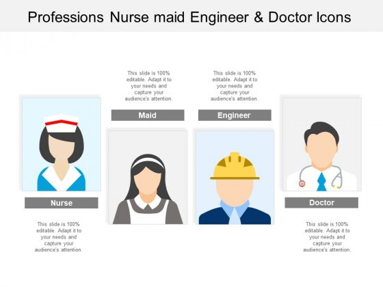 Professions Nurse Maid Engineer And Doctor Icons Ppt PowerPoint Presentation Infographic Template Examples