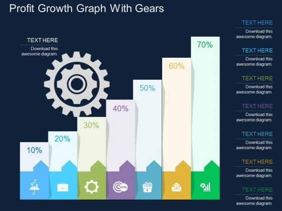 Profit Growth Graph With Gears Powerpoint Template