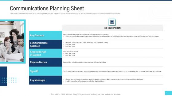 Profitable Initiation Project Engagement Process Communications Planning Sheet Ppt Show Slide PDF