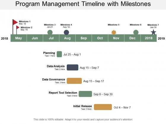 Program Management Timeline With Milestones Ppt PowerPoint Presentation Slides Layouts