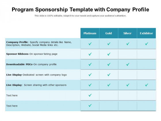 Program Sponsorship Template With Company Profile Ppt PowerPoint Presentation Gallery Example Introduction PDF