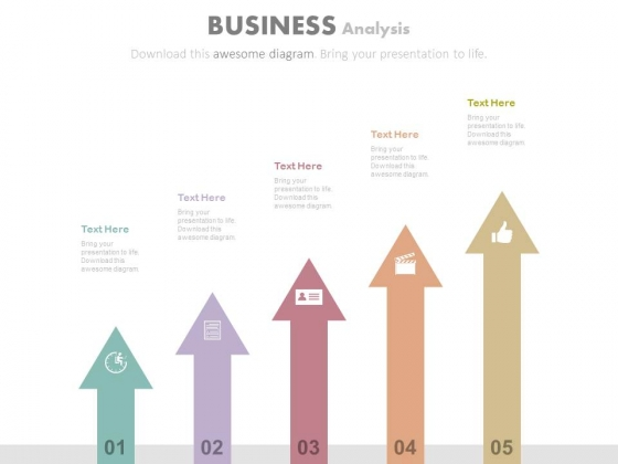 Progressive Arrows With Icons For Growth Analysis Powerpoint Slides