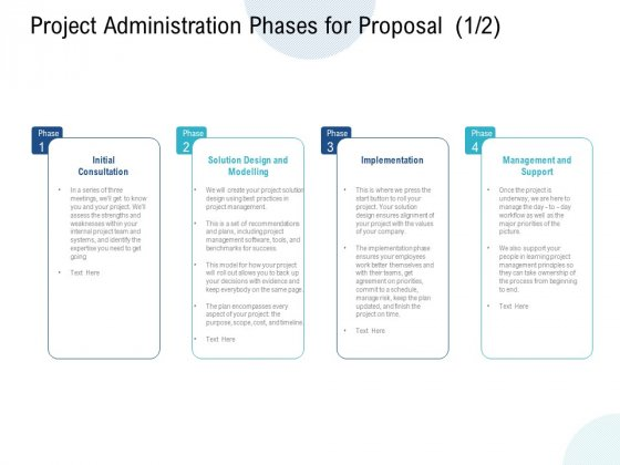 Project Administration Phases For Proposal Initial Ppt PowerPoint Presentation Model Graphics Template