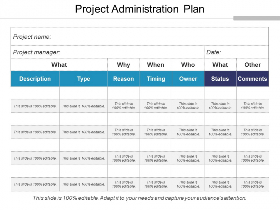 Project Administration Plan Ppt PowerPoint Presentation Icon Layouts
