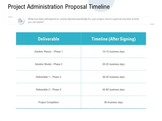 Project Administration Proposal Timeline Ppt PowerPoint Presentation Styles Example