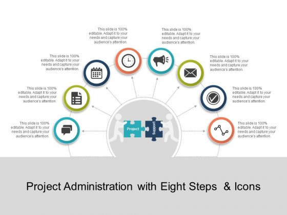 Project Administration With Eight Steps And Icons Ppt PowerPoint Presentation Layouts Background Images