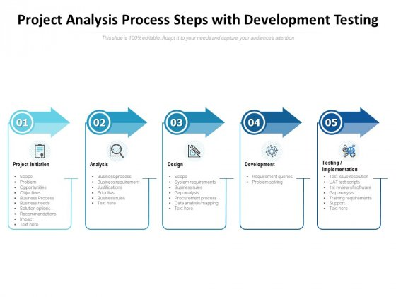 Project Analysis Process Steps With Development Testing Ppt PowerPoint Presentation Summary Example Introduction