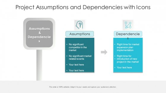 Project Assumptions And Dependencies With Icons Ppt Inspiration Slideshow PDF