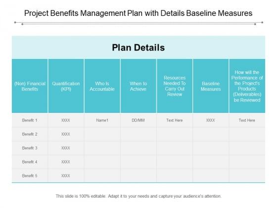 Project Benefits Management Plan With Details Baseline Measures Ppt Powerpoint Presentation Portfolio Outfit
