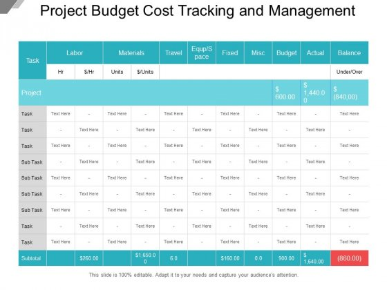 Project Budget Cost Tracking And Management Ppt PowerPoint Presentation Slides Samples