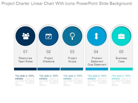 project charter linear chart with icons powerpoint slide background